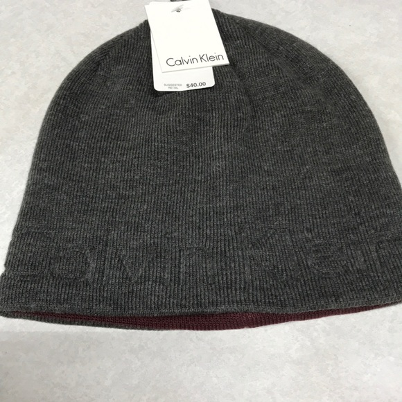 0a089805930 Calvin Klein beanie embossed hat. Grey w  burgundy